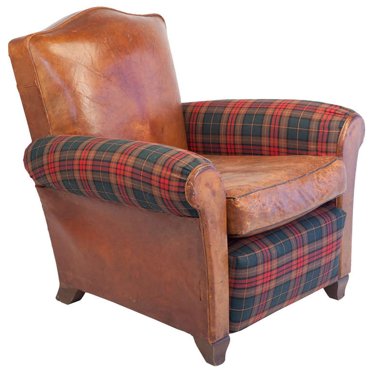 Small Scale Club Chair in Leather and Tartan Plaid at 1stdibs