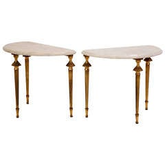 Pair of Midcentury French Marble Occasional Tables