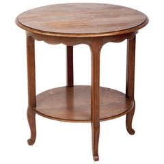 French Country Round Oak Occassional Table