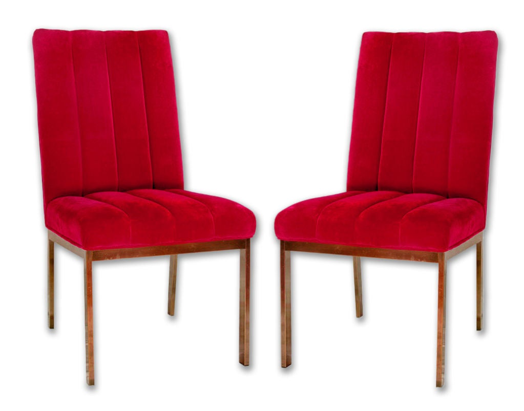 American Pair of Chrome and Velvet Midcentury Parsons Chairs For Sale