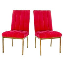 Pair of Chrome and Velvet Midcentury Parsons Chairs