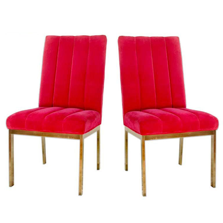 Pair Of Chrome And Velvet Mid Century Parsons Chairs 1