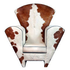 Memphis Style Cow Hide and Ultra Suede Oversized Chair