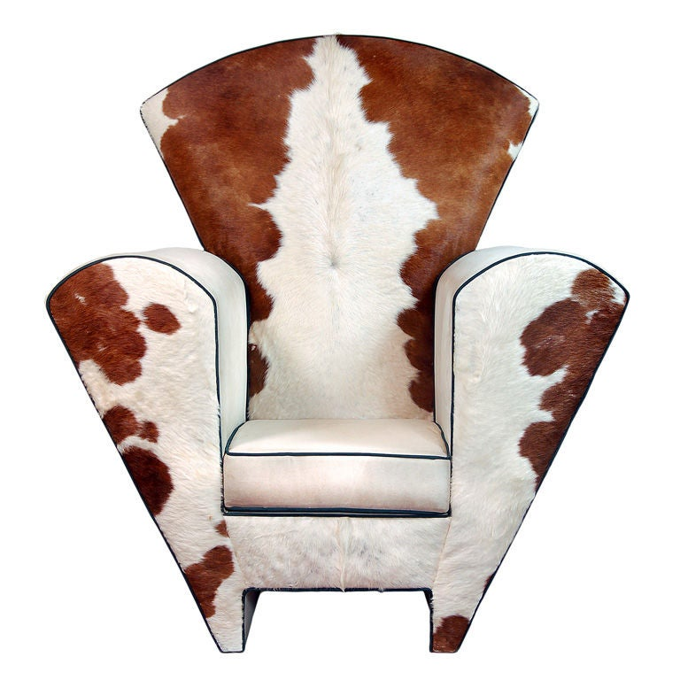 Contemporary Furniture Memphis: Memphis Style Cow Hide And Ultra Suede Oversized Chair For