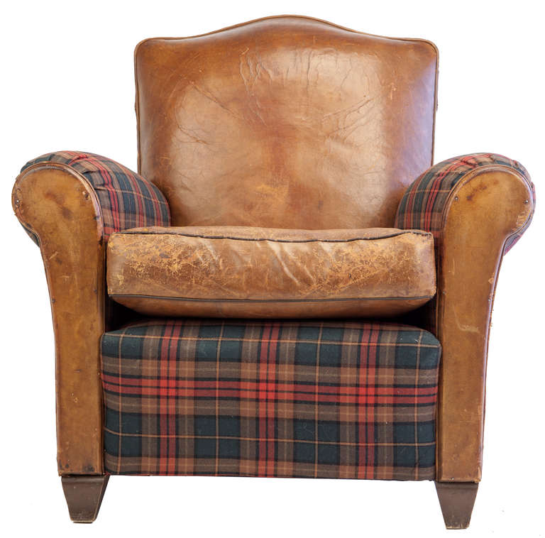 Small-Scale Club Chair in Leather and Tartan Plaid at 1stdibs