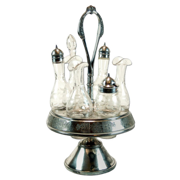 Antique Meriden Silver Plated Cruet Set