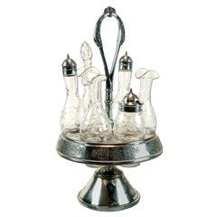 Antique Meriden Silver Plated Cruet Set