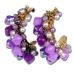 Purple and Pearl Beaded Hoop Earrings