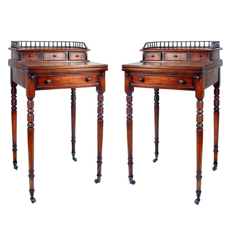Pair Of Regency Style Secretary Desk On Casters For Sale