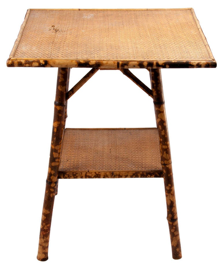 Bamboo Tortoise Coffee Table: Victorian Tortoise Shell Bamboo And Woven Cane Plant Stand