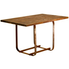Mid-Century Style Wood and Forged Iron Table