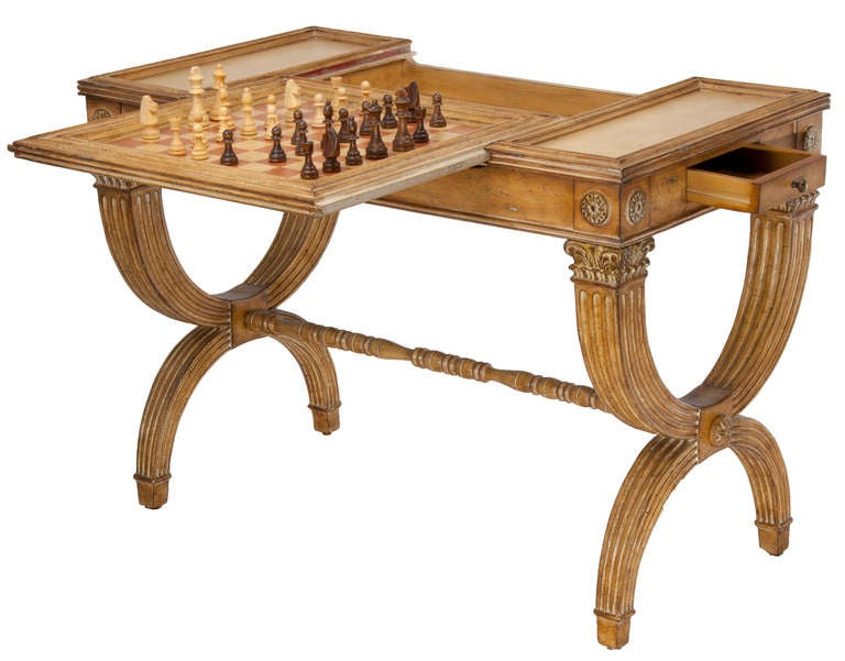 Reversible Gaming Partners Table - Neoclassical Style For Sale 2