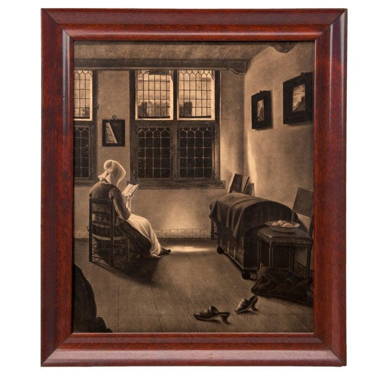 Woman in Window Pencil Drawing