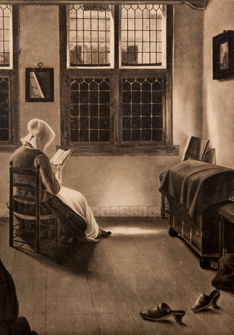 vintage window drawing. woman in window pencil drawing 2 vintage