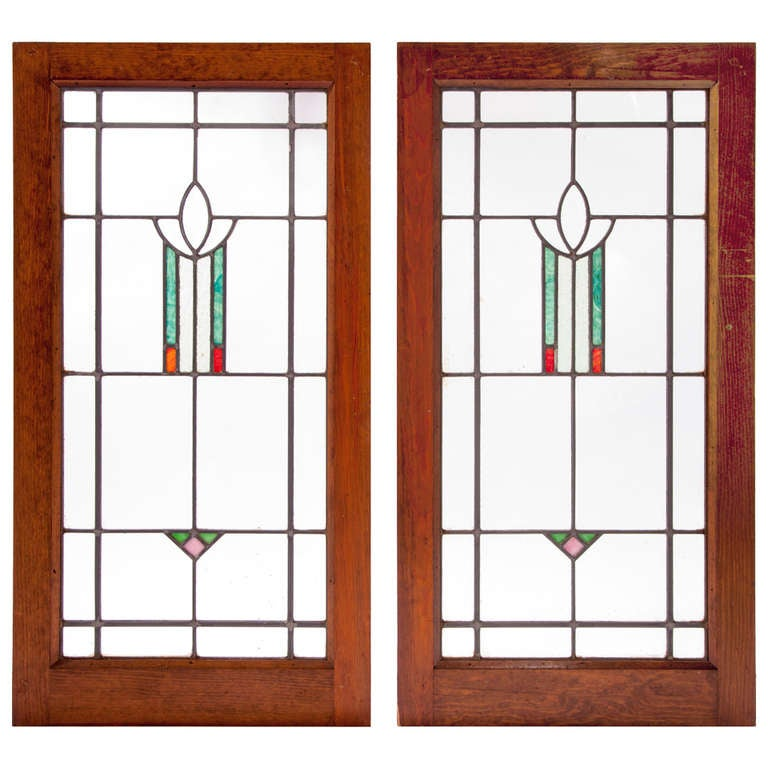 Pair of Art Deco Stained Glass Windows