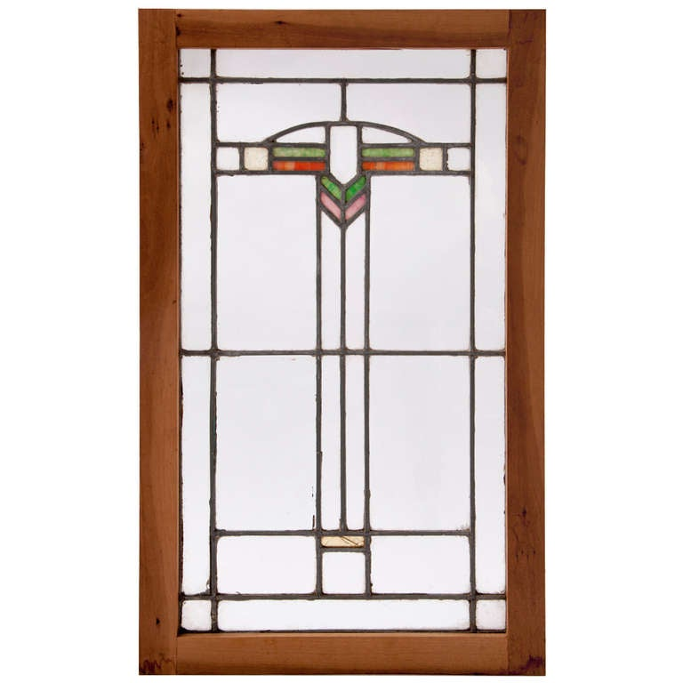Art Deco Stained Glass Oak-Framed Window For Sale at 1stdibs