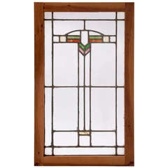 Art Deco Stained Glass Oak-Framed Window