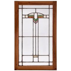 Art Deco Stained Glass Oak-Framed Window