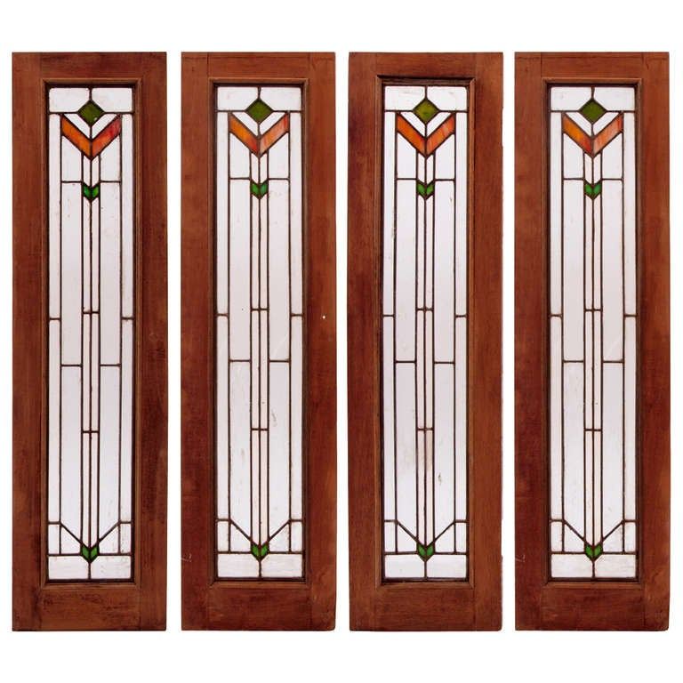 Set of four art deco stained glass windows at 1stdibs for Art glass windows and doors