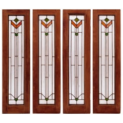 Set of Four Art Deco Stained Glass Windows
