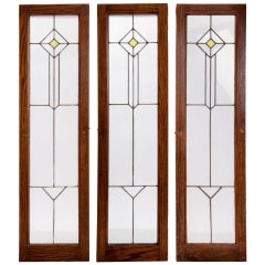 Turn of Century Triptych Stained Glass Windows