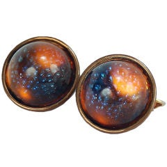 Vintage Atomic Age Dichroic Glass Cabochon Clip On Earrings