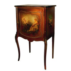 Hand-Painted Sheet Music Cabinet with Bronze Mounts, circa 1895