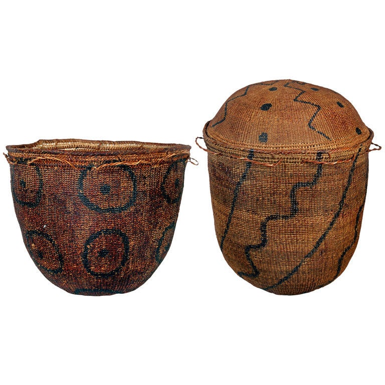 Pair of Early African Grass Grain Baskets For Sale