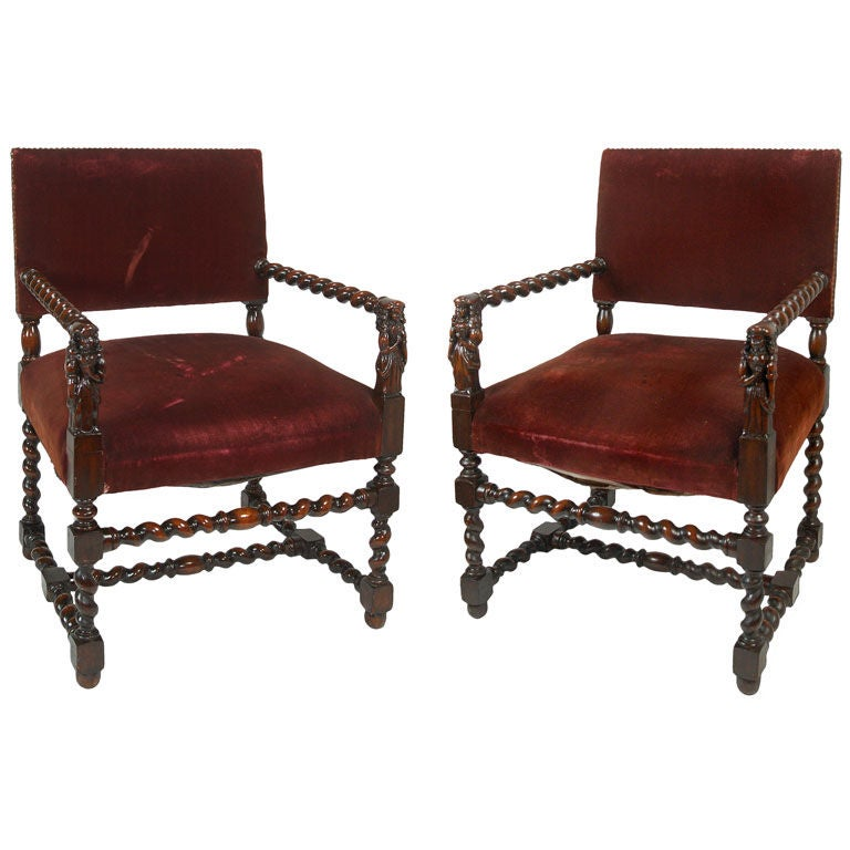 Pair Of Jacobean Barley Twist Arm Chairs With English