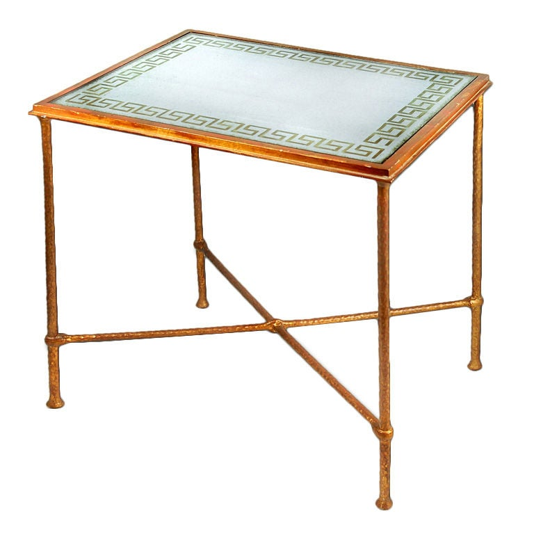 Eglomise Silver Glass with Gold Leaf Greek Key Top Side Table