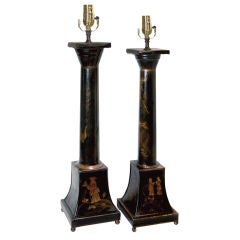 Pair of Black Lacquer Table Lamps Chinoiserie Design