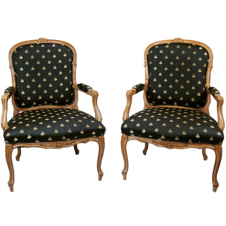 Pair Of Marge Carson Fauteuil Chairs With Bee Upholstery