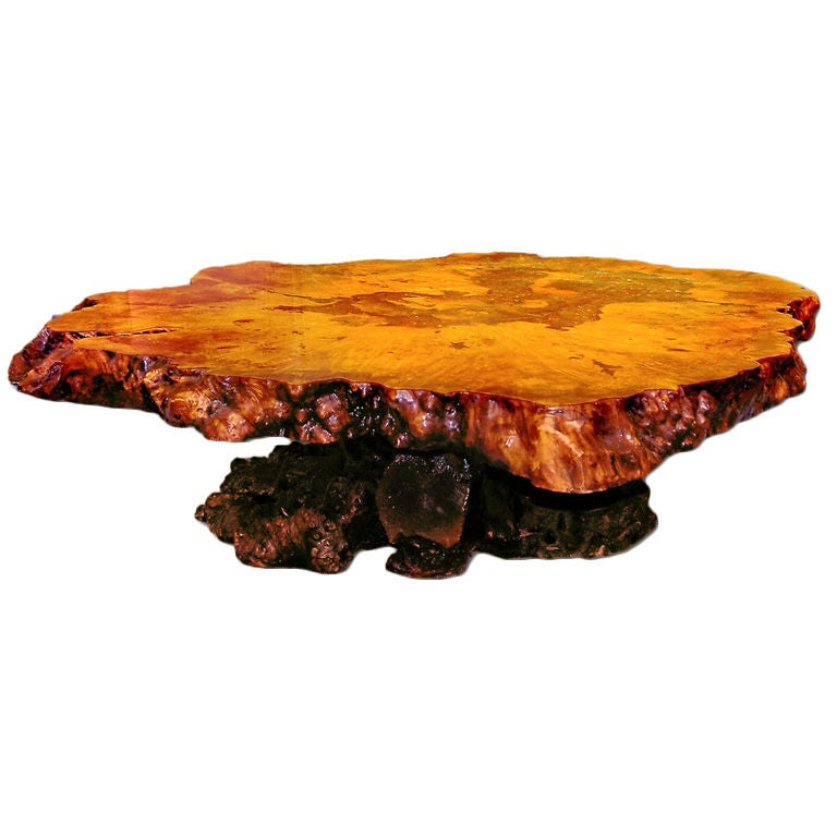 1stdibs Burl Wood Coffee Table: Redwood Burl Coffee Table With Irridescant Carnival Glass