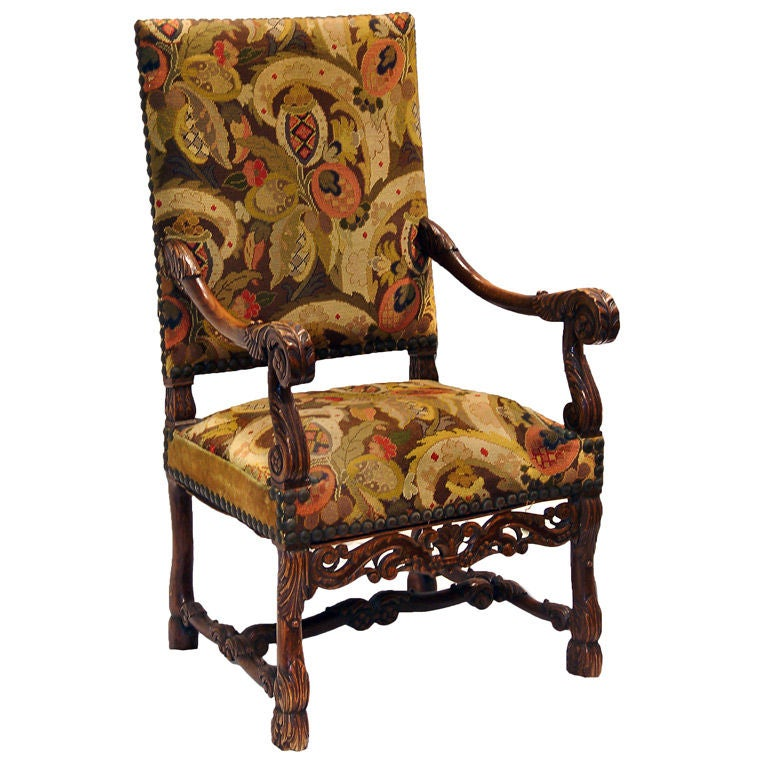 Elizabethan Chair With Needlepoint Upholstery For Sale At