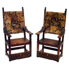 Spanish Colonial Oak Armchairs with Lion Heads