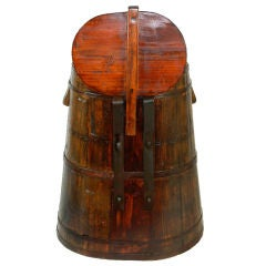 Southeast Asian Teak Rice Barrel