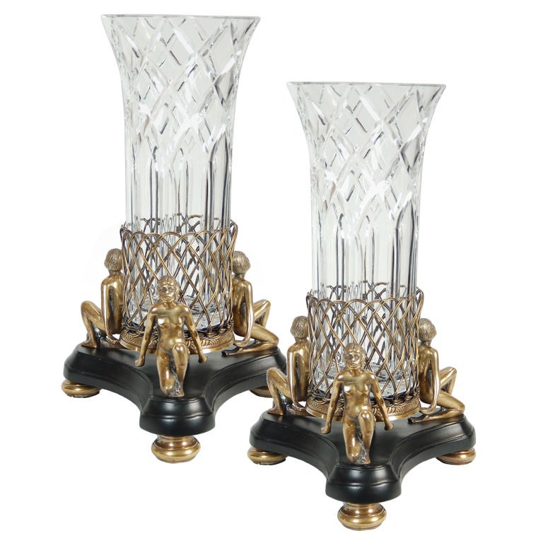 Pair of Art Deco Crystal Vases with Gilt Bronze Bases