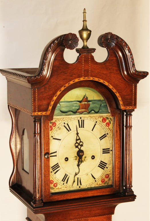 Federal Style Grandmother S Clock With Sailing Ship Motif