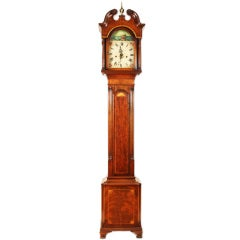 Federal Style Grandmother's Clock with Sailing Ship Motif