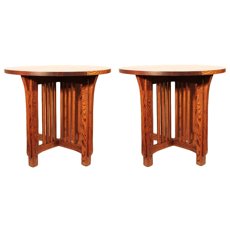 Pair of Arts & Crafts Style Lamp Tables For Sale