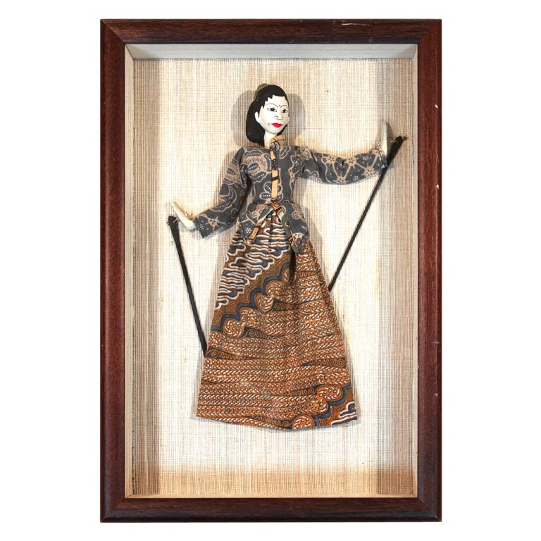 Kathputli Indian Puppet in Glass and Mahogany Case