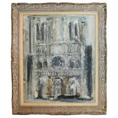 Midcentury Palate Knife Oil Painting of Notre Dame Cathedral