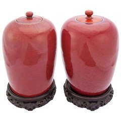 Set of Sang de Boeuf Lidded Jars