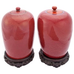Set of Sang de Boeuf Lidded Jars