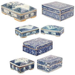 Seven Chinese Lidded Porcelain Boxes