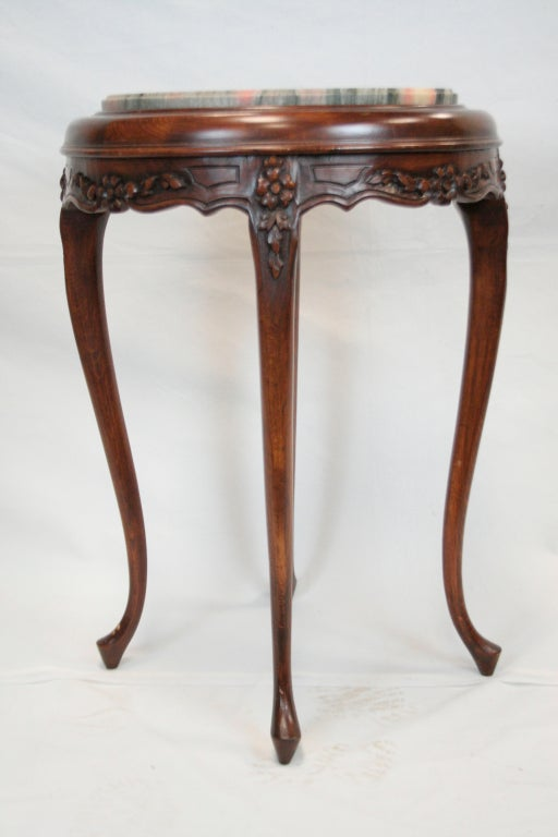 This beautiful 1940s style table with marble top will add a lovely touch to bedroom or parlor.