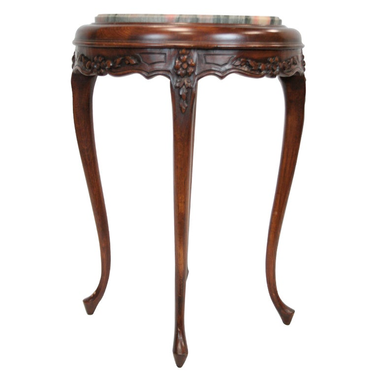 Beautiful Petite Round Maple Parlor Table with Marble Top For Sale