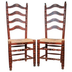 Pair of Hand-Painted Delaware River Valley Slat Back Chairs