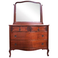 French Roccoco Style Chest of Drawers with Attached Mirror