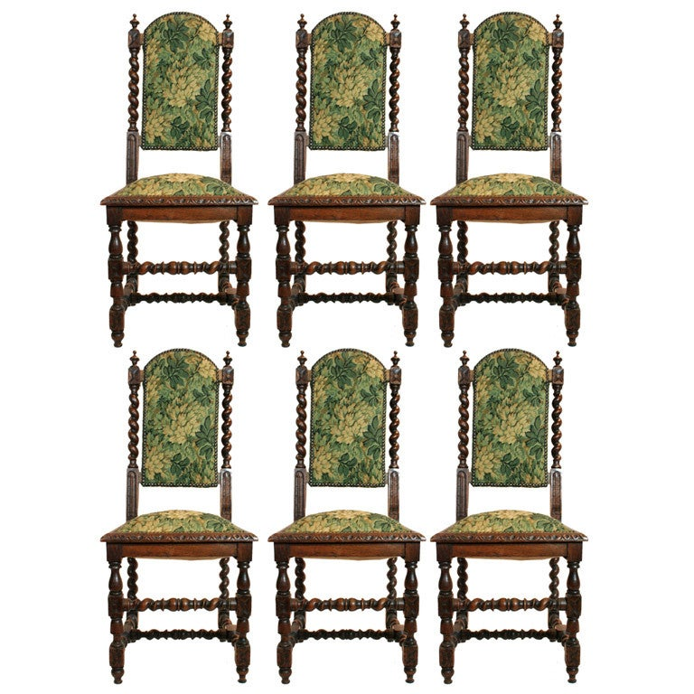 Set of 6 English Jacobean Style Armless Chairs
